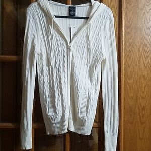 Women's white cable knit zippered hoodie sweater
